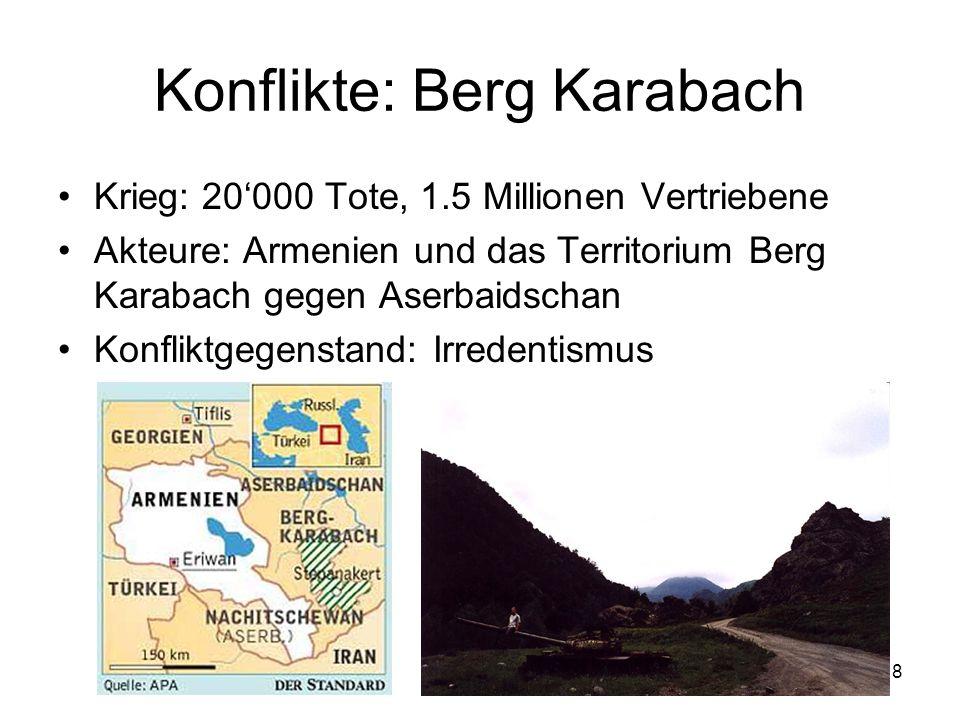 8 Konflikte: Berg Karabach Krieg: 20000 Tote, 1.5 Millionen Vertriebene Akteure: Armenien und das Territorium Berg Karabach gegen Aserbaidschan Konfli