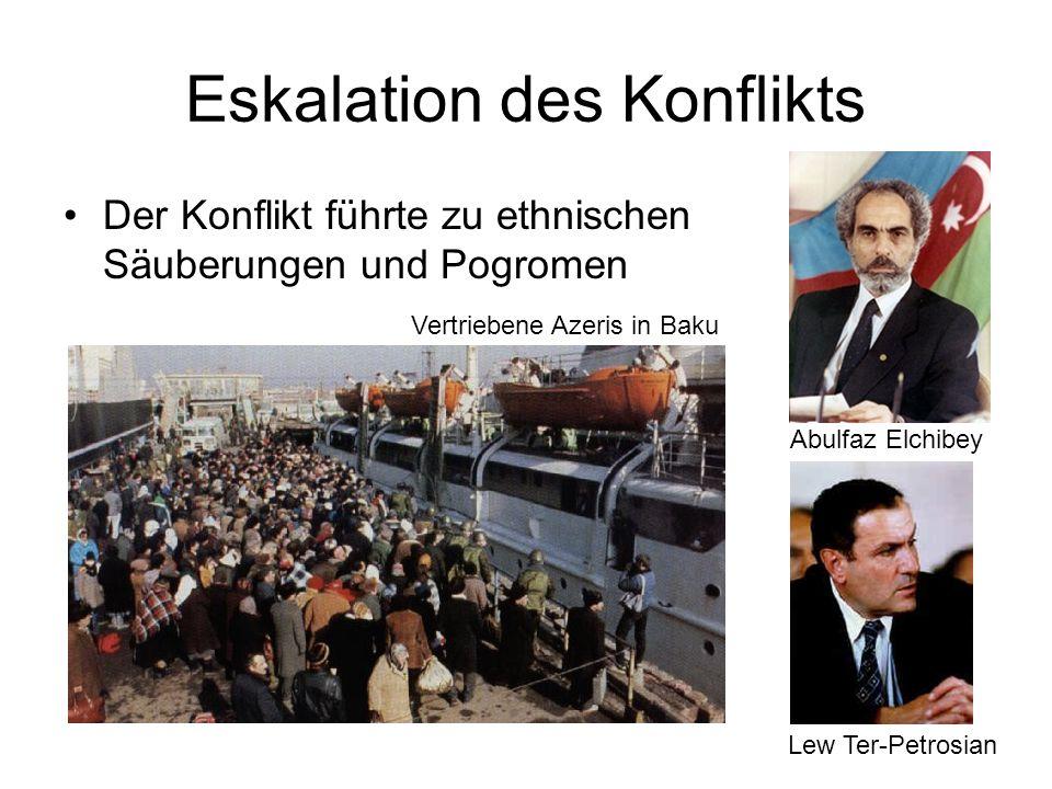 9 Eskalation des Konflikts Der Konflikt führte zu ethnischen Säuberungen und Pogromen Lew Ter-Petrosian Abulfaz Elchibey Vertriebene Azeris in Baku