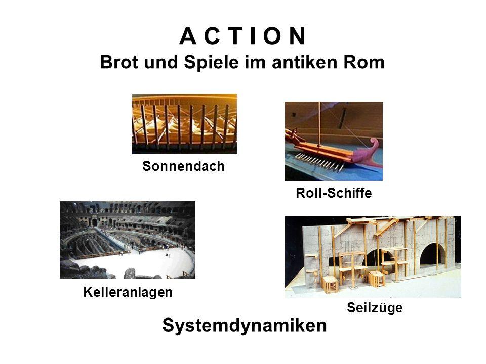 A C T I O N Brot und Spiele im antiken Rom Systemdynamiken Kelleranlagen Seilzüge Sonnendach Roll-Schiffe
