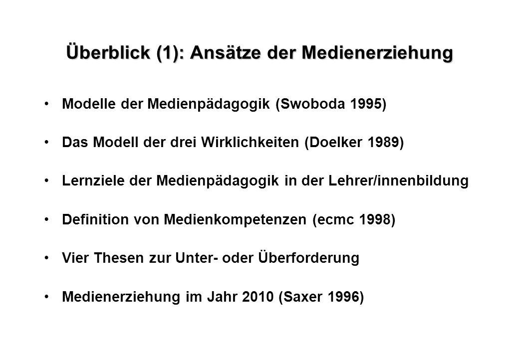 Überblick (1): Ansätze der Medienerziehung Modelle der Medienpädagogik (Swoboda 1995) Das Modell der drei Wirklichkeiten (Doelker 1989) Lernziele der