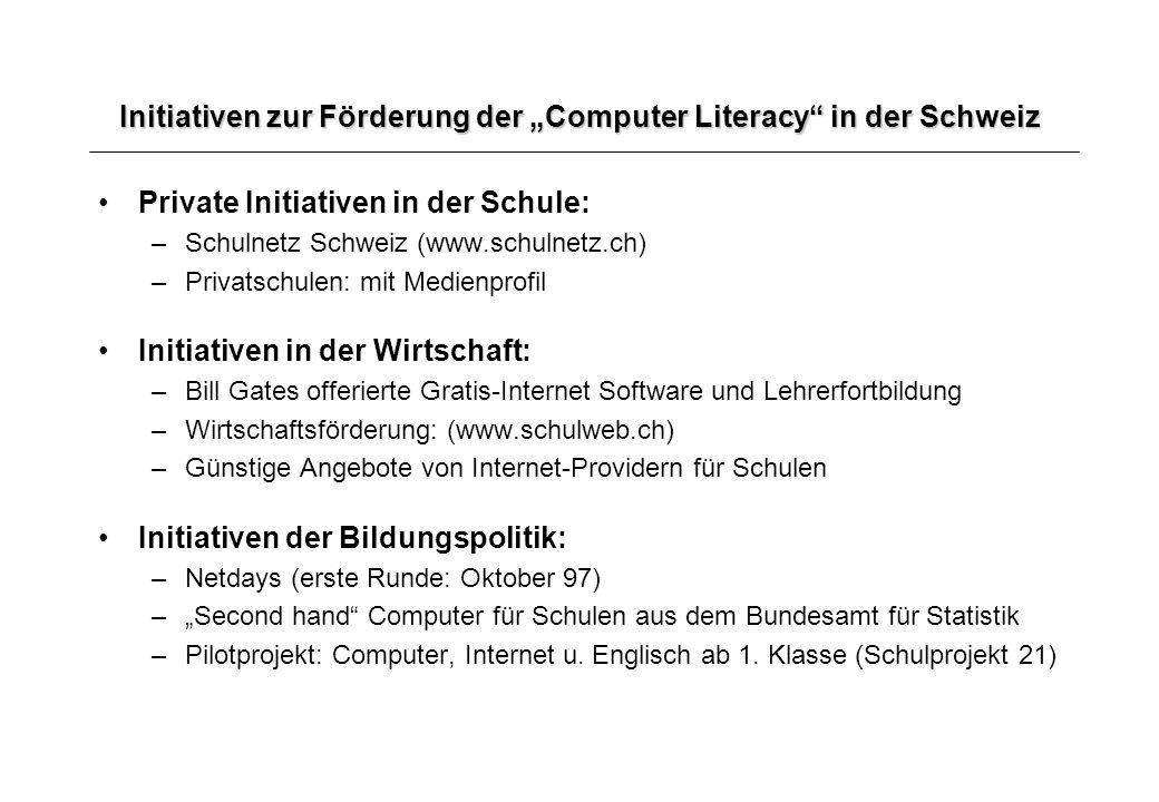 Initiativen zur Förderung der Computer Literacy in der Schweiz Private Initiativen in der Schule: –Schulnetz Schweiz (www.schulnetz.ch) –Privatschulen