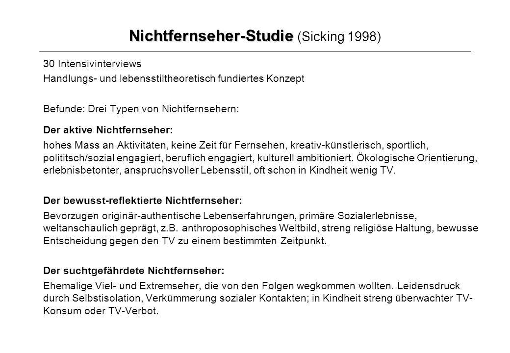 Nichtfernseher-Studie Nichtfernseher-Studie (Sicking 1998) 30 Intensivinterviews Handlungs- und lebensstiltheoretisch fundiertes Konzept Befunde: Drei