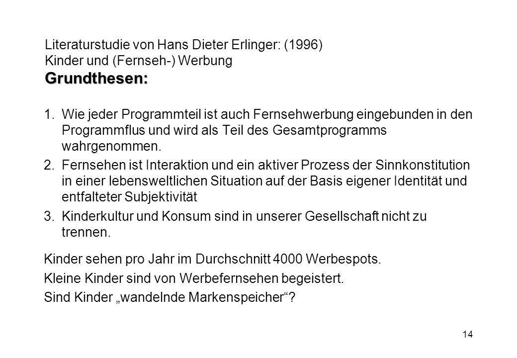 14 Grundthesen: Literaturstudie von Hans Dieter Erlinger: (1996) Kinder und (Fernseh-) Werbung Grundthesen: 1.Wie jeder Programmteil ist auch Fernsehw