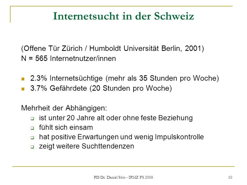 PD Dr. Daniel Süss - IPMZ FS 2008 10 Internetsucht in der Schweiz (Offene Tür Zürich / Humboldt Universität Berlin, 2001) N = 565 Internetnutzer/innen
