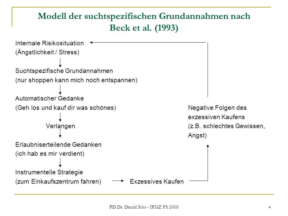 PD Dr. Daniel Süss - IPMZ FS 2008 4 Modell der suchtspezifischen Grundannahmen nach Beck et al. (1993) Internale Risikosituation (Ängstlichkeit / Stre