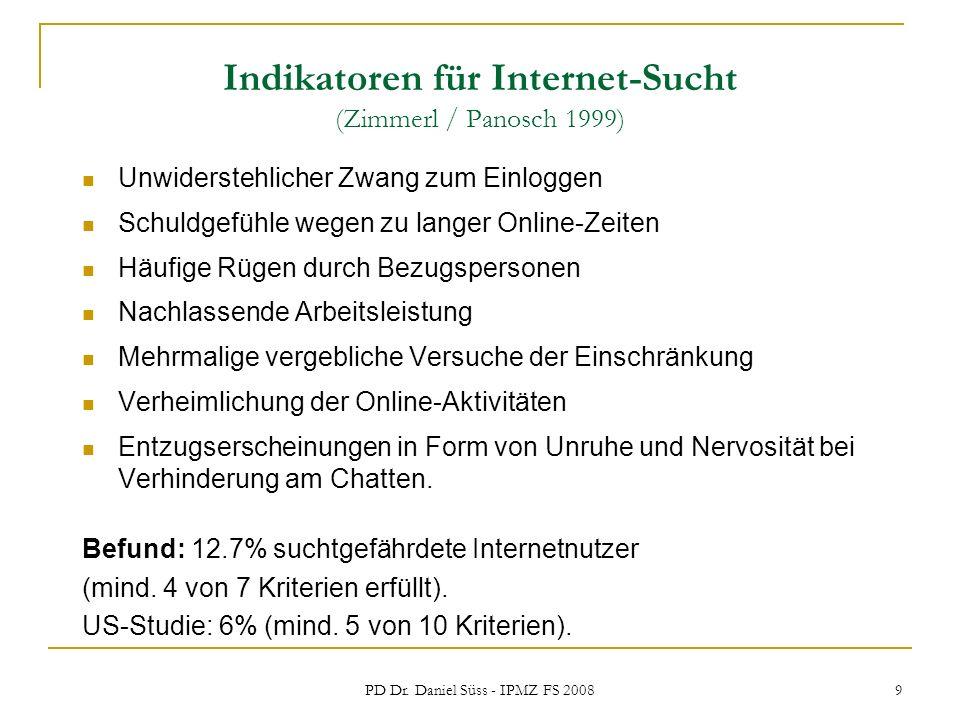 PD Dr. Daniel Süss - IPMZ FS 2008 9 Indikatoren für Internet-Sucht (Zimmerl / Panosch 1999) Unwiderstehlicher Zwang zum Einloggen Schuldgefühle wegen