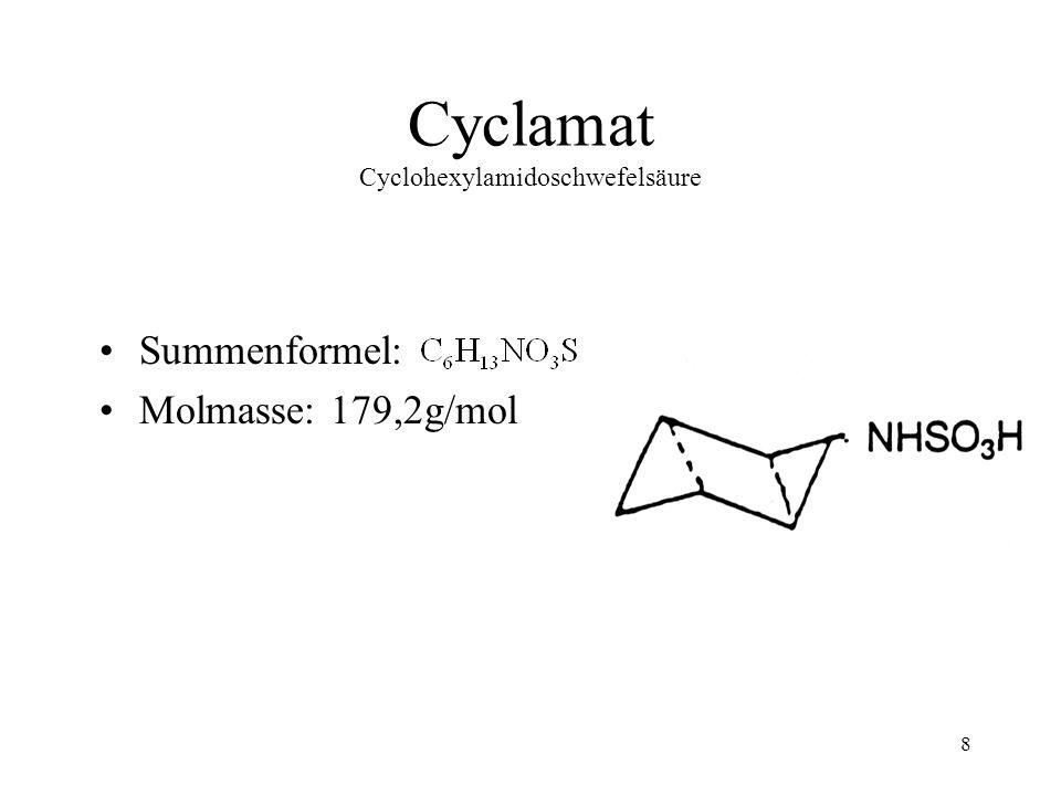 9 Acesulfam 6-Methyl-1,2,3-oxathioazin-4(3H)-on-2,2-dioxid oder 3,4-Dihydro-6-methyl-1,2,3-oxathiazin-4-on-2,2-dioxid Summenformel: Molmasse: 201,2g/mol