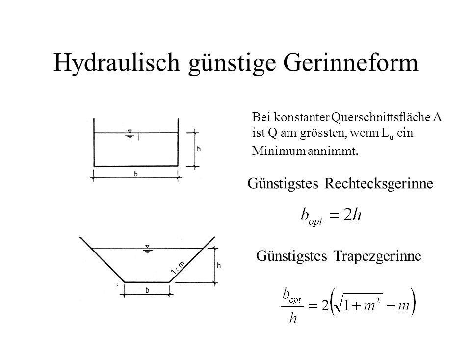 Hydraulisch günstige Gerinneform Bei konstanter Querschnittsfläche A ist Q am grössten, wenn L u ein Minimum annimmt. Günstigstes Rechtecksgerinne Gün