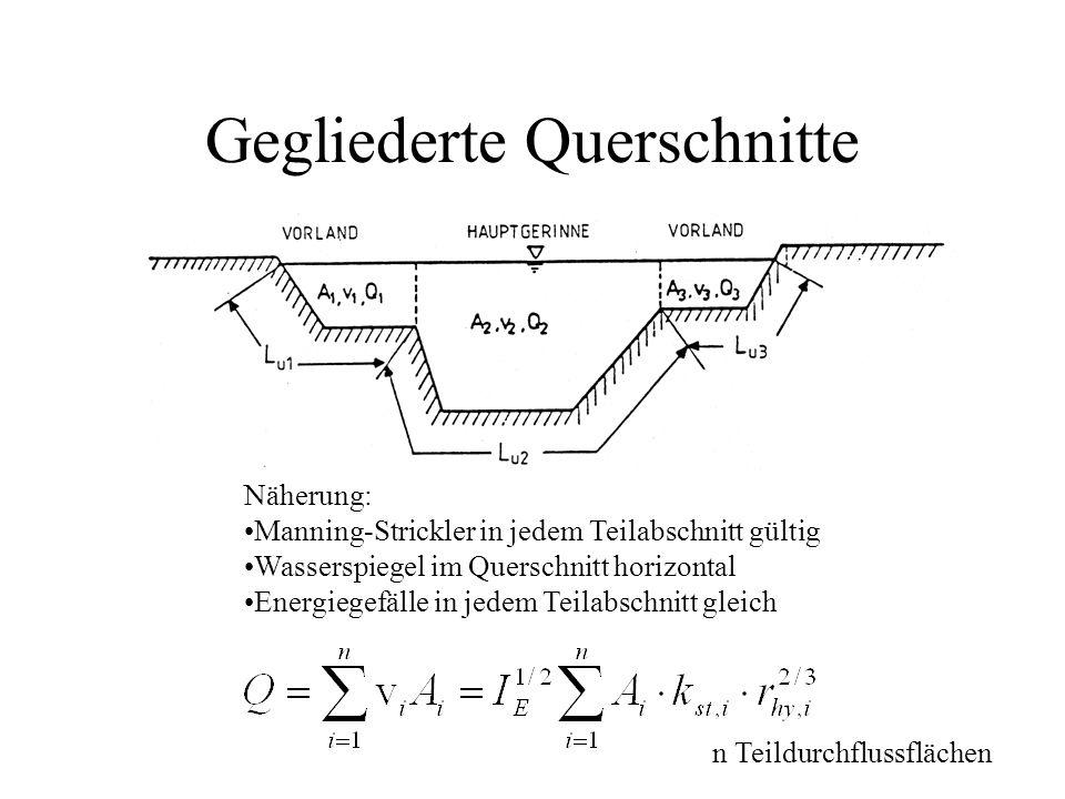 Gegliederte Querschnitte Näherung: Manning-Strickler in jedem Teilabschnitt gültig Wasserspiegel im Querschnitt horizontal Energiegefälle in jedem Tei