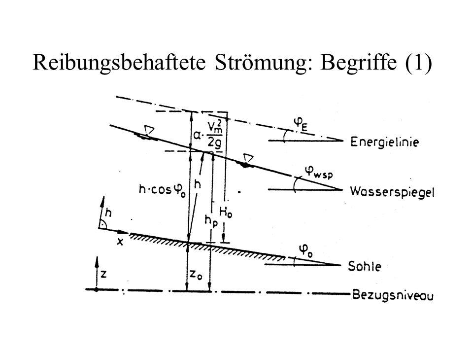 Gegliederte Querschnitte Näherung: Manning-Strickler in jedem Teilabschnitt gültig Wasserspiegel im Querschnitt horizontal Energiegefälle in jedem Teilabschnitt gleich n Teildurchflussflächen