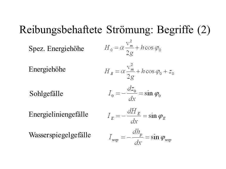 Reibungsbehaftete Strömung: Begriffe (2) Spez. Energiehöhe Energiehöhe Sohlgefälle Energieliniengefälle Wasserspiegelgefälle