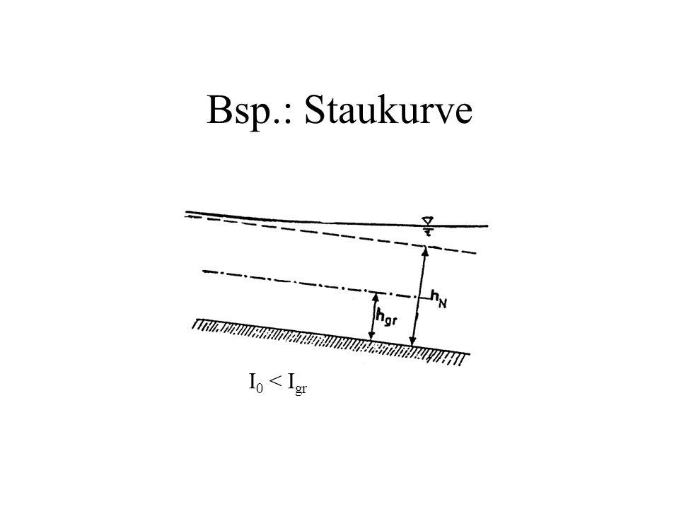 Bsp.: Staukurve I 0 < I gr