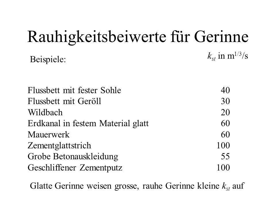 Rauhigkeitsbeiwerte für Gerinne Beispiele: k st in m 1/3 /s Flussbett mit fester Sohle40 Flussbett mit Geröll30 Wildbach20 Erdkanal in festem Material