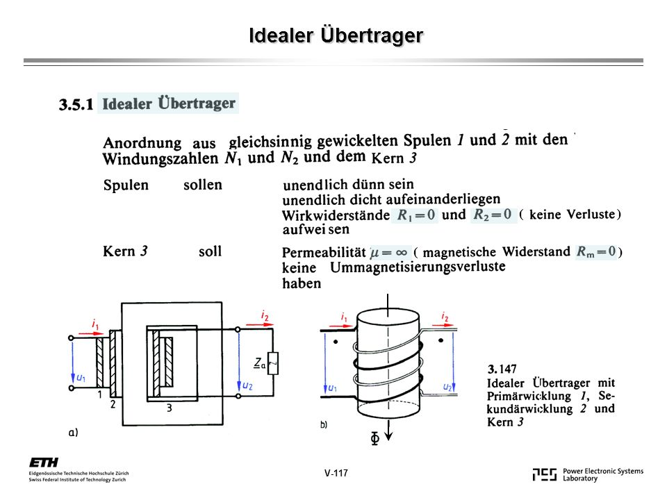 Idealer Übertrager V-117 ( )