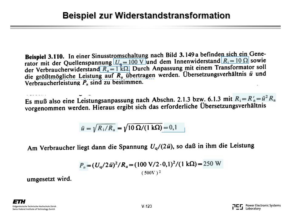 Beispiel zur Widerstandstransformation V-123 ( 500V ) 2