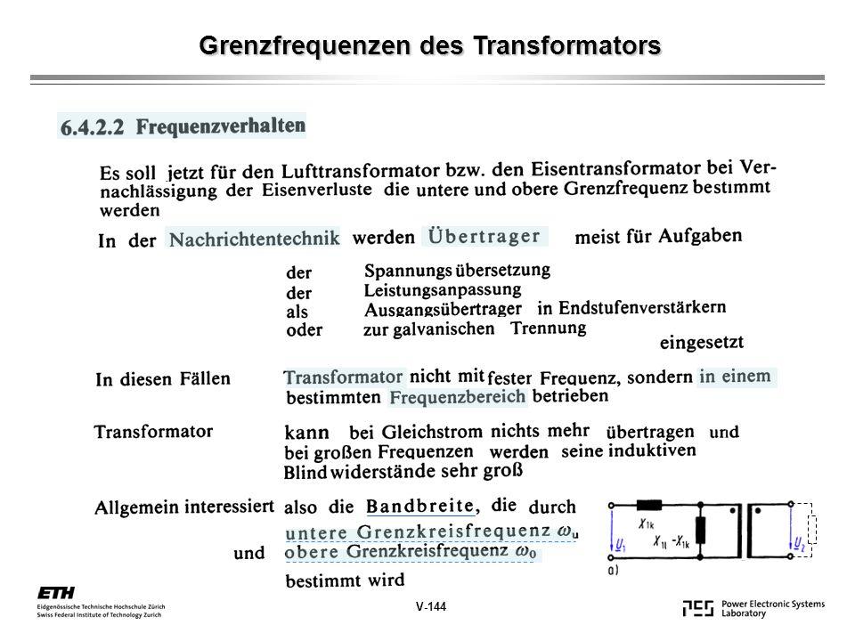 Grenzfrequenzen des Transformators V-144