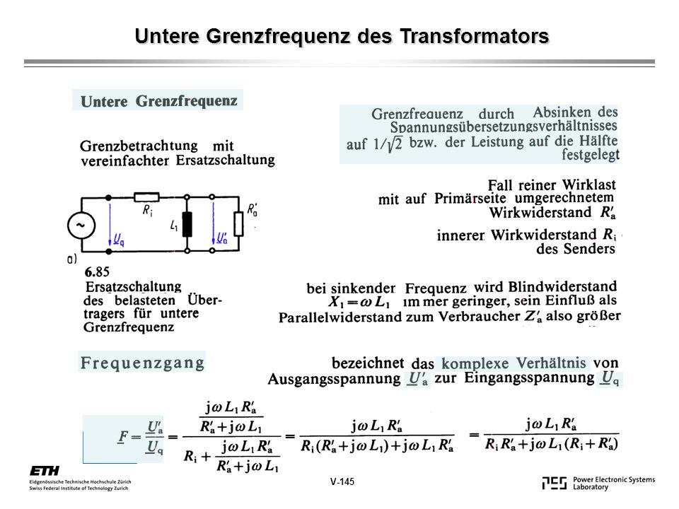 Untere Grenzfrequenz des Transformators V-145