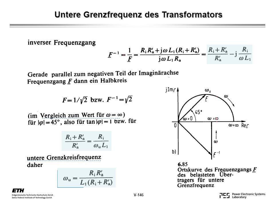 Untere Grenzfrequenz des Transformators V-146