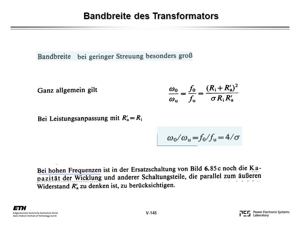 Bandbreite des Transformators V-148