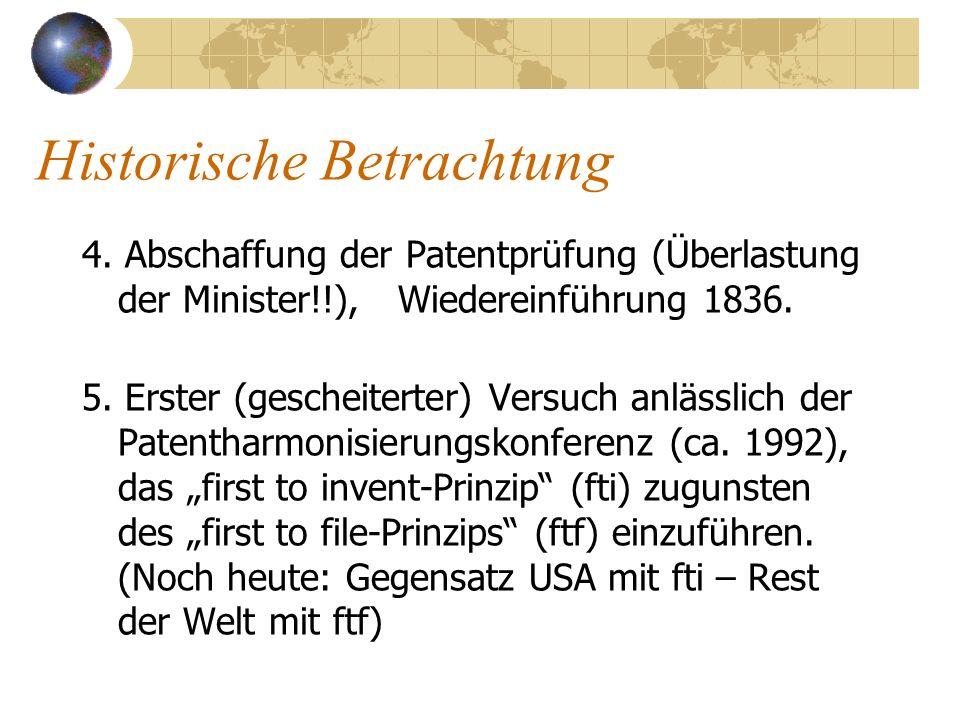 Historische Betrachtung 4. Abschaffung der Patentprüfung (Überlastung der Minister!!), Wiedereinführung 1836. 5. Erster (gescheiterter) Versuch anläss