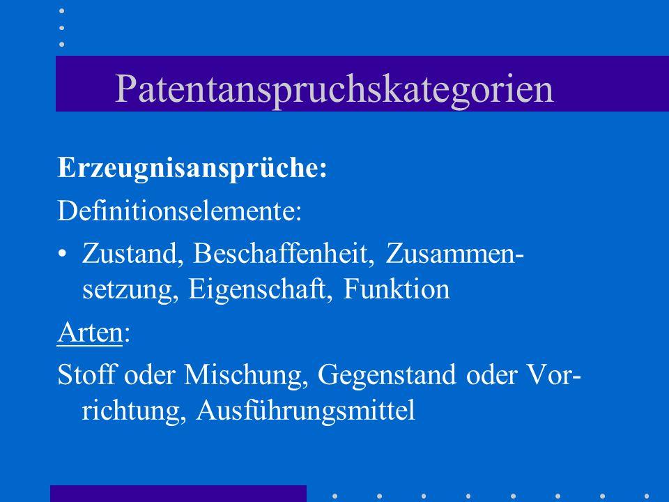 Patentanspruchskategorien Erzeugnisansprüche: Definitionselemente: Zustand, Beschaffenheit, Zusammen- setzung, Eigenschaft, Funktion Arten: Stoff oder Mischung, Gegenstand oder Vor- richtung, Ausführungsmittel