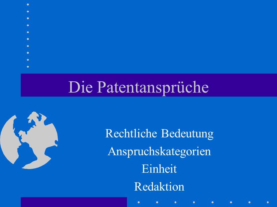 Die Patentansprüche Rechtliche Bedeutung Anspruchskategorien Einheit Redaktion