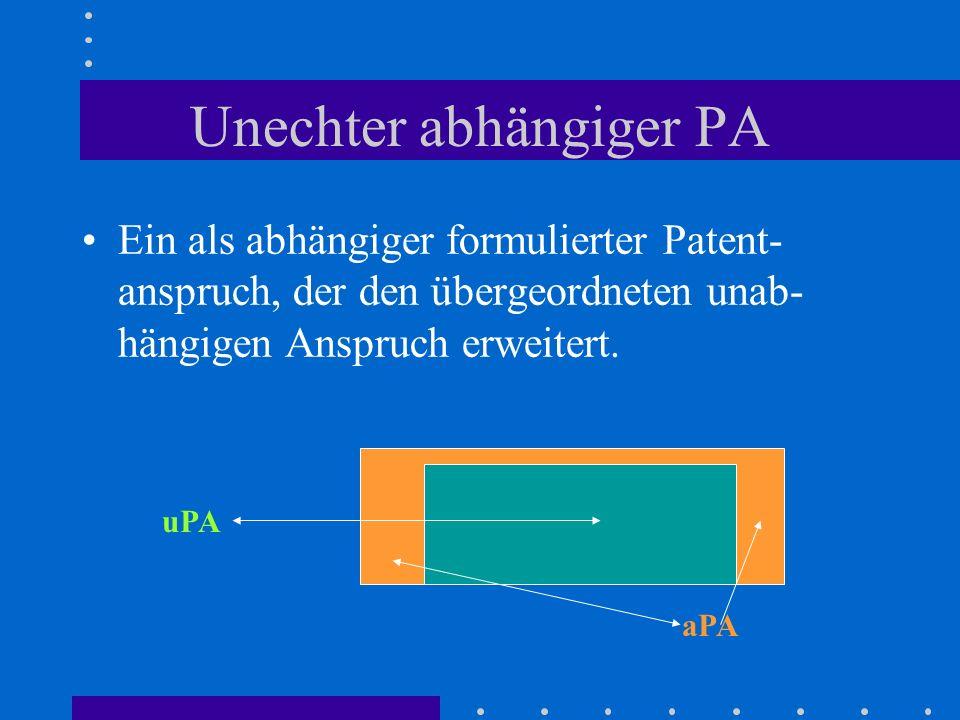 Unechter abhängiger PA Ein als abhängiger formulierter Patent- anspruch, der den übergeordneten unab- hängigen Anspruch erweitert. uPA aPA