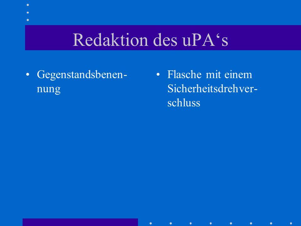 Redaktion des uPAs Gegenstandsbenen- nung Flasche mit einem Sicherheitsdrehver- schluss