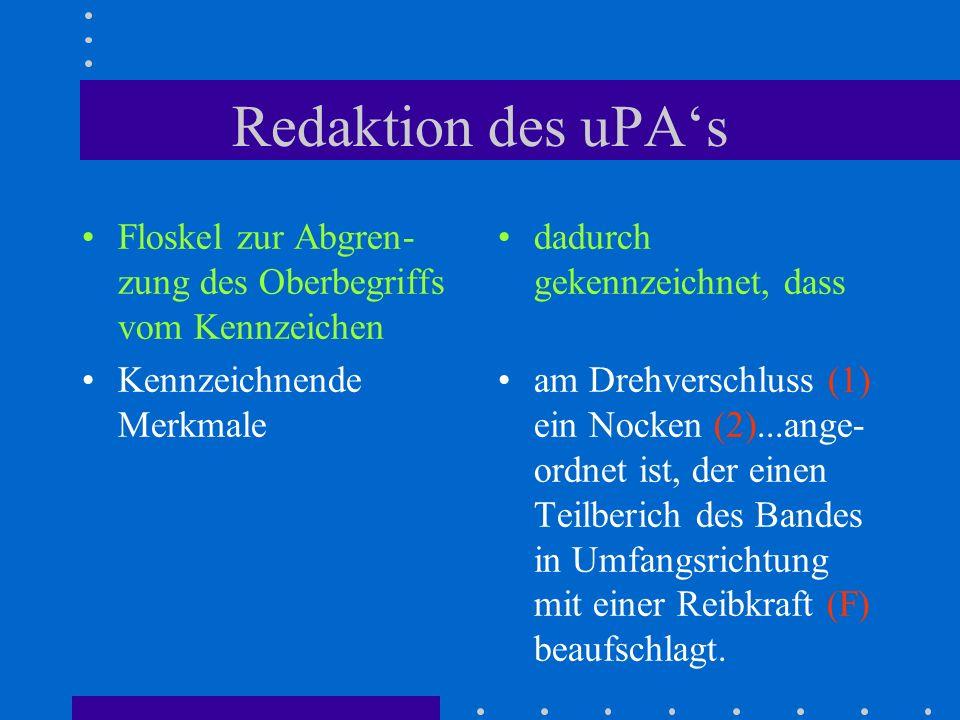 Redaktion des uPAs Floskel zur Abgren- zung des Oberbegriffs vom Kennzeichen Kennzeichnende Merkmale dadurch gekennzeichnet, dass am Drehverschluss (1