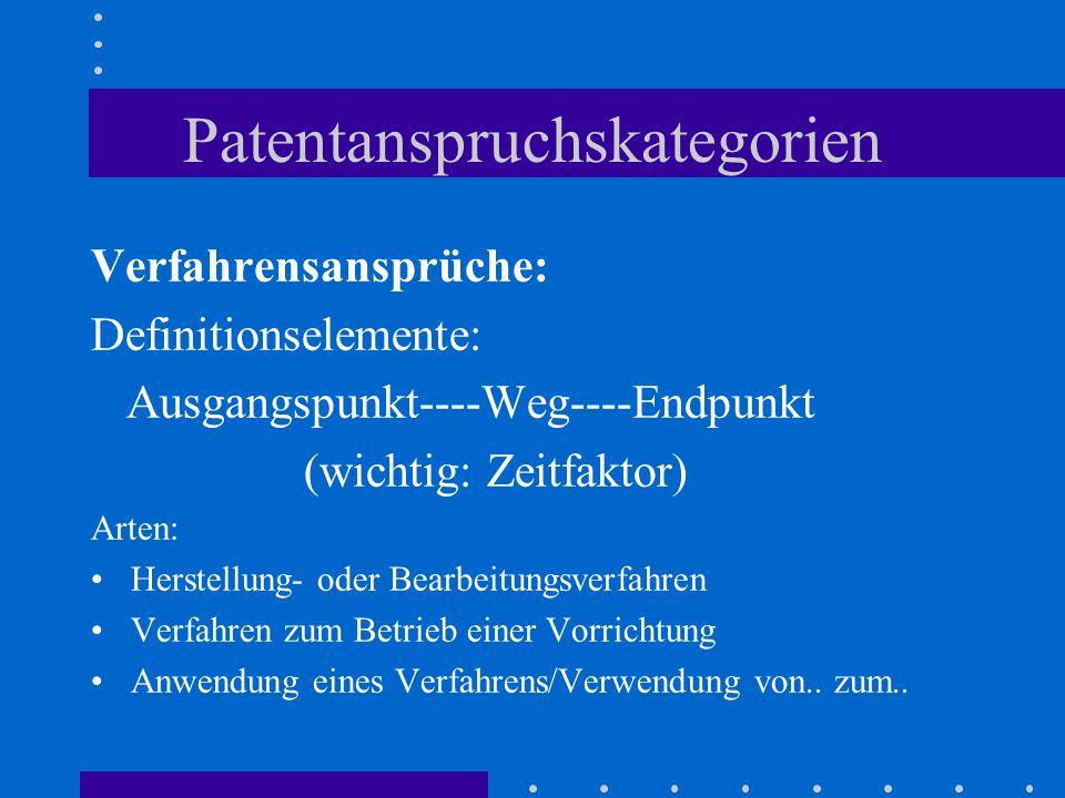 Patentanspruchskategorien Verfahrensansprüche: Definitionselemente: Ausgangspunkt----Weg----Endpunkt (wichtig: Zeitfaktor) Arten: Herstellung- oder Be