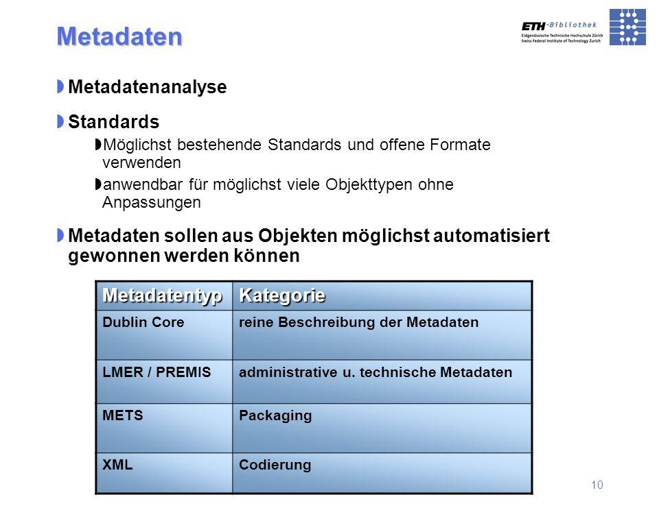 10 Metadatenanalyse Standards Möglichst bestehende Standards und offene Formate verwenden anwendbar für möglichst viele Objekttypen ohne Anpassungen M