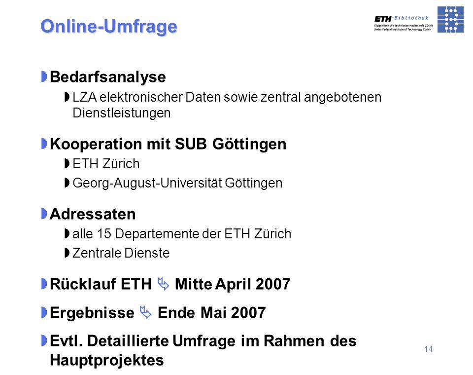 14 Online-Umfrage Bedarfsanalyse LZA elektronischer Daten sowie zentral angebotenen Dienstleistungen Kooperation mit SUB Göttingen ETH Zürich Georg-Au