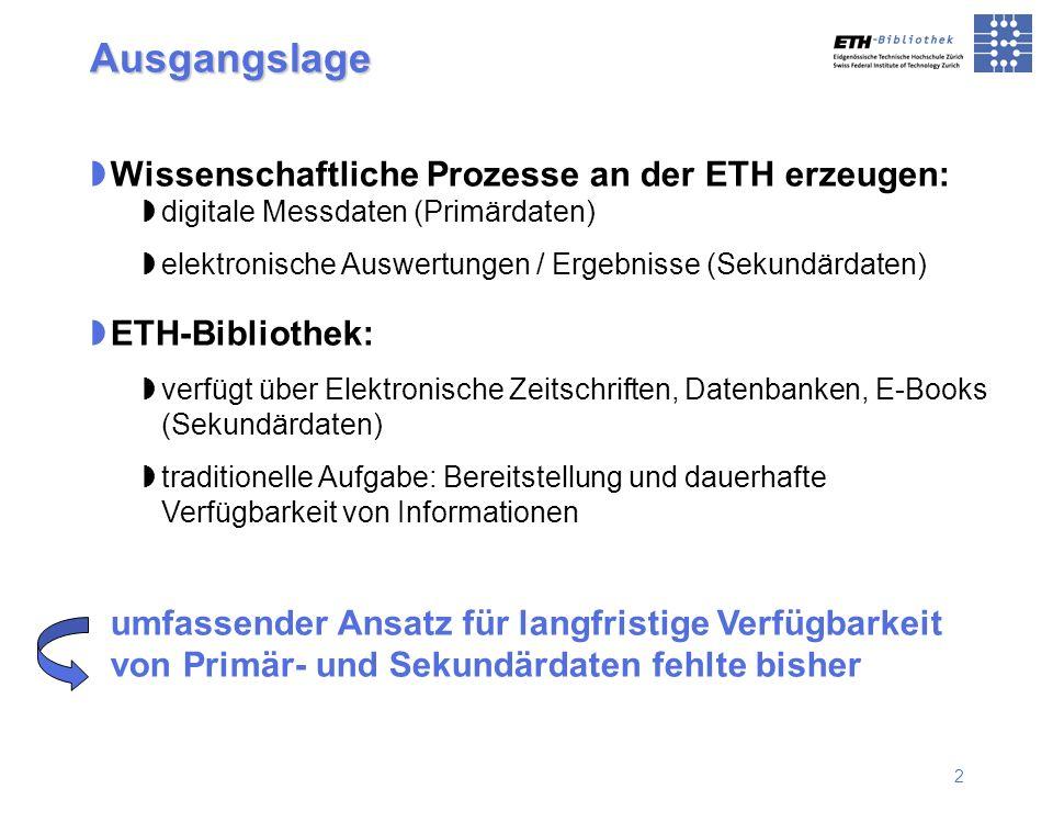 2 Ausgangslage Wissenschaftliche Prozesse an der ETH erzeugen: digitale Messdaten (Primärdaten) elektronische Auswertungen / Ergebnisse (Sekundärdaten