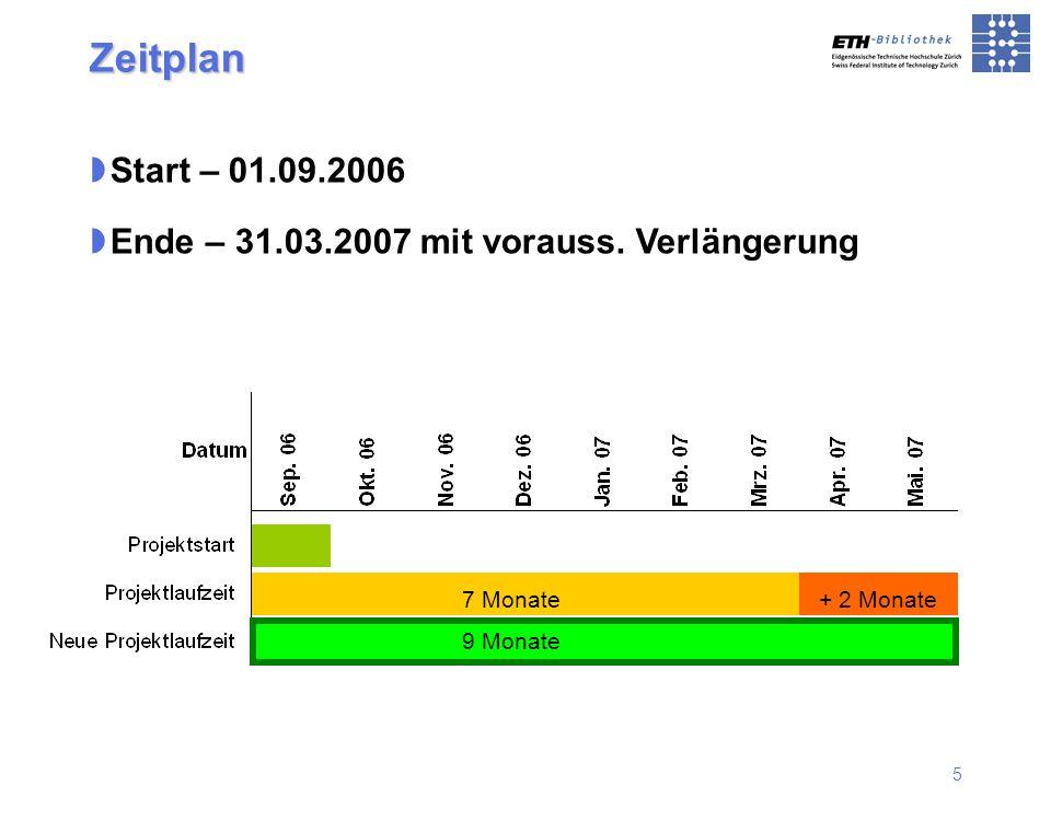 5 Zeitplan Start – 01.09.2006 Ende – 31.03.2007 mit vorauss. Verlängerung + 2 Monate7 Monate 9 Monate