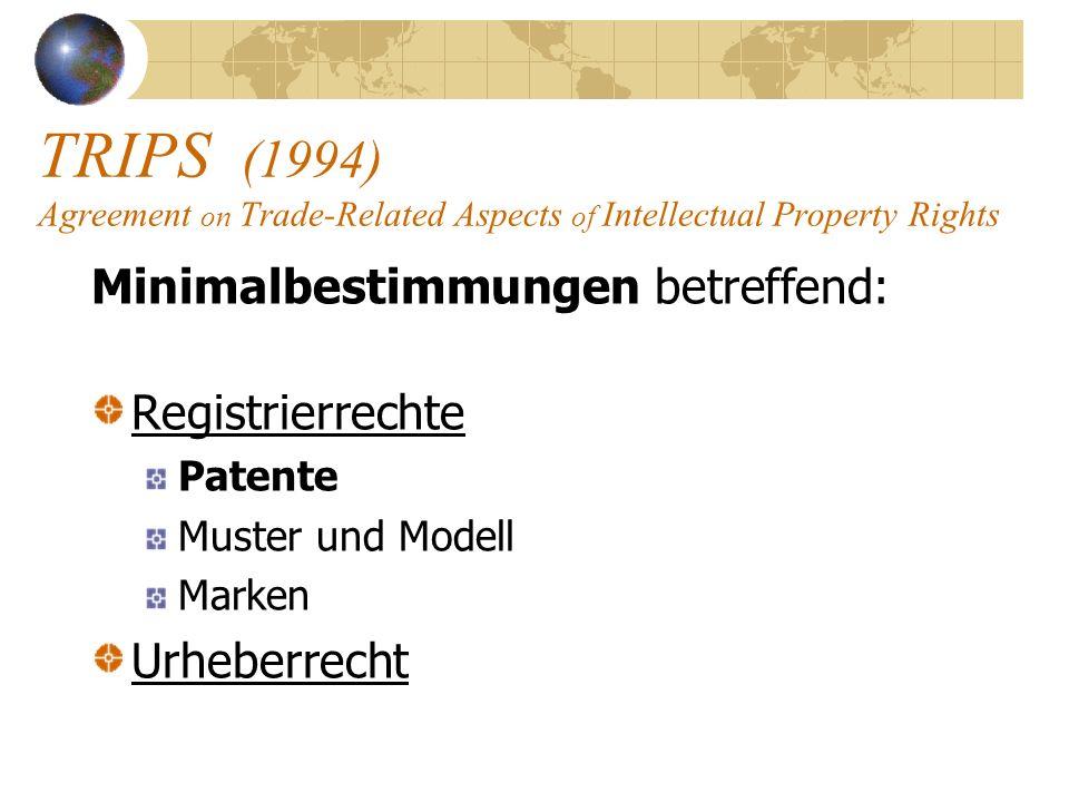 TRIPS (1994) Agreement on Trade-Related Aspects of Intellectual Property Rights Minimalbestimmungen betreffend: Registrierrechte Patente Muster und Mo