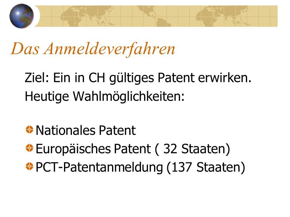 Das Anmeldeverfahren Ziel: Ein in CH gültiges Patent erwirken. Heutige Wahlmöglichkeiten: Nationales Patent Europäisches Patent ( 32 Staaten) PCT-Pate