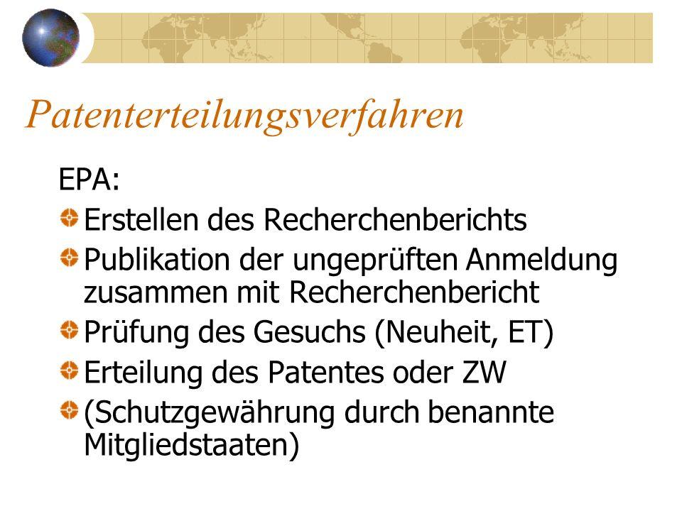 Patenterteilungsverfahren EPA: Erstellen des Recherchenberichts Publikation der ungeprüften Anmeldung zusammen mit Recherchenbericht Prüfung des Gesuc