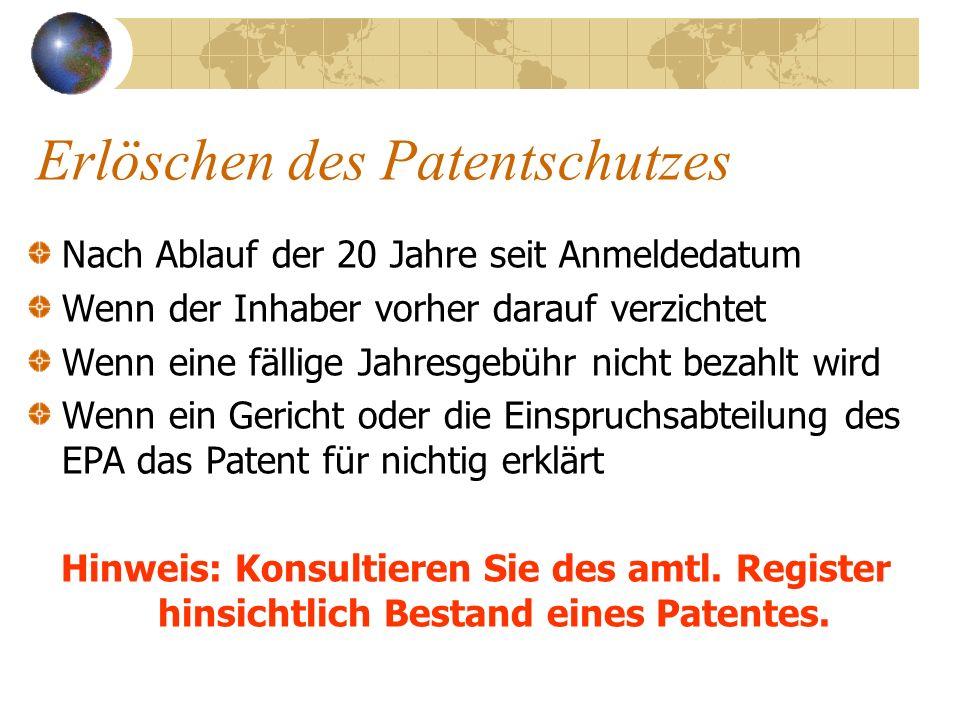 Erlöschen des Patentschutzes Nach Ablauf der 20 Jahre seit Anmeldedatum Wenn der Inhaber vorher darauf verzichtet Wenn eine fällige Jahresgebühr nicht