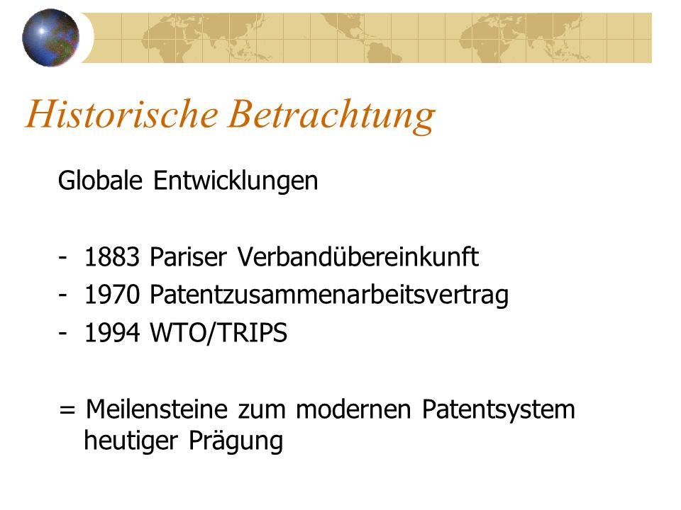 Historische Betrachtung Globale Entwicklungen -1883 Pariser Verbandübereinkunft -1970 Patentzusammenarbeitsvertrag -1994 WTO/TRIPS = Meilensteine zum