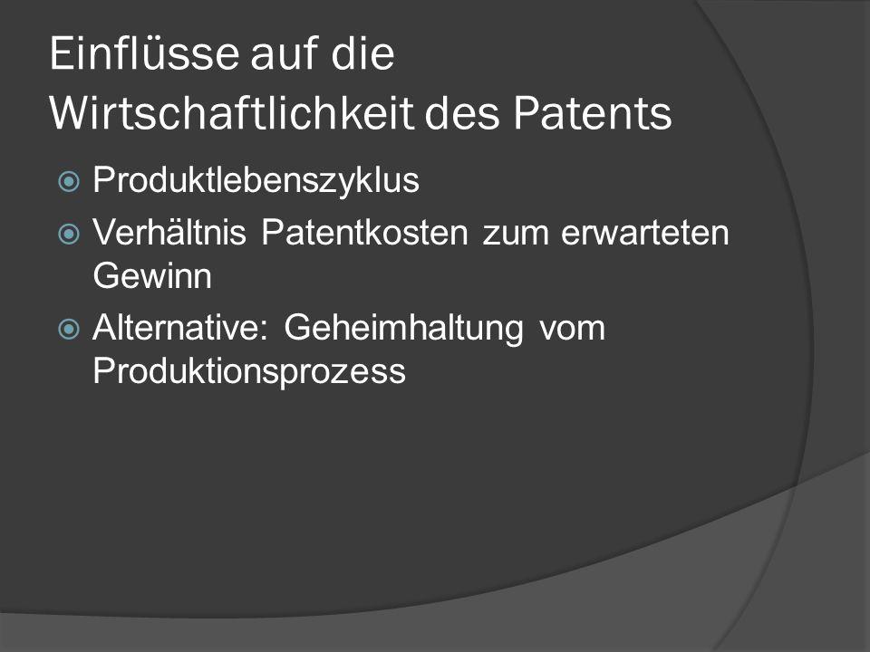 Einflüsse auf die Wirtschaftlichkeit des Patents Produktlebenszyklus Verhältnis Patentkosten zum erwarteten Gewinn Alternative: Geheimhaltung vom Prod