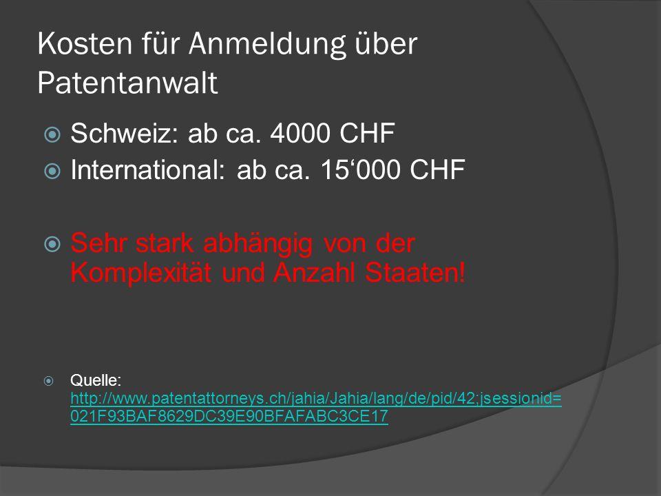 Kosten für Anmeldung über Patentanwalt Schweiz: ab ca. 4000 CHF International: ab ca. 15000 CHF Sehr stark abhängig von der Komplexität und Anzahl Sta