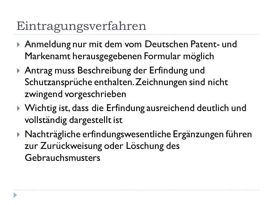 Internationale Gültigkeit Deutsches Gebrauchsmuster gilt nur in Deutschland Für Anmeldungen im Ausland gilt während 12 Monaten nach dem Anmeldetag das Prioritätsrecht Priorität bedeutet, dass für spätere Anmeldungen im Ausland innert 12 Monaten der Anmeldetag in Deutschland gilt Technische Entwicklungen, die in der Zwischenzeit veröffentlicht worden sind, bleiben unberücksichtigt Nachanmeldungen nach Ablauf des Prioritätsjahres sind nicht möglich, weil die Erfindung nicht mehr als neu gilt