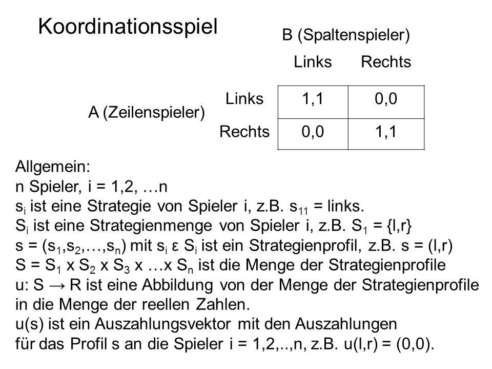 Koordinationsspiel LinksRechts Links1,10,0 Rechts0,01,1 A (Zeilenspieler) B (Spaltenspieler) Allgemein: n Spieler, i = 1,2, …n s i ist eine Strategie