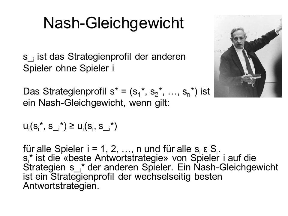 Nash-Gleichgewicht s_ i ist das Strategienprofil der anderen Spieler ohne Spieler i Das Strategienprofil s* = (s 1 *, s 2 *, …, s n *) ist ein Nash-Gl
