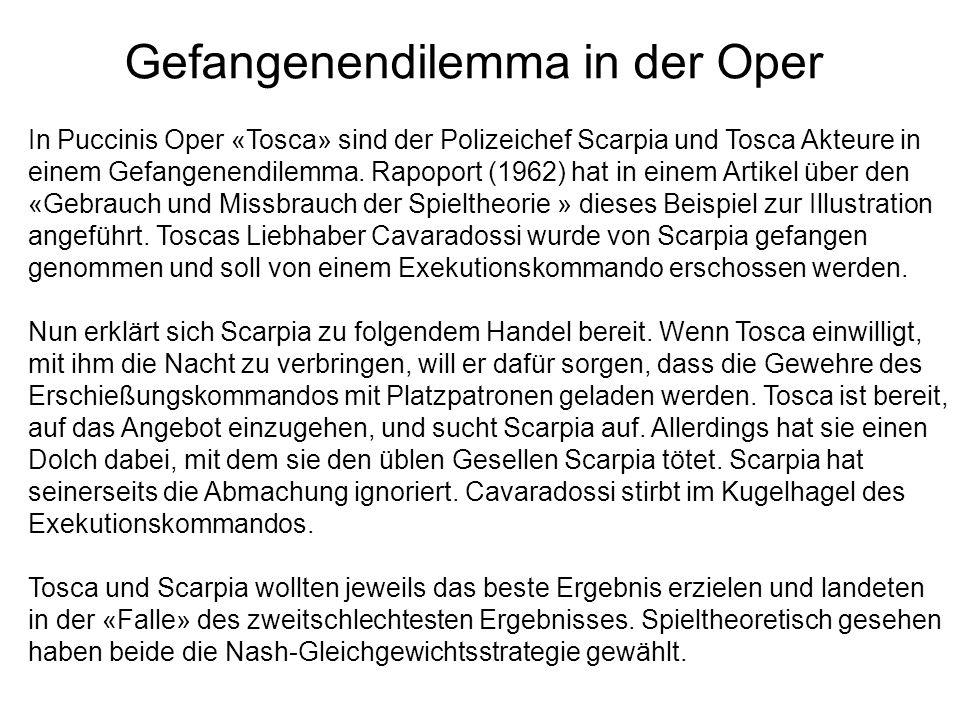 Gefangenendilemma in der Oper In Puccinis Oper «Tosca» sind der Polizeichef Scarpia und Tosca Akteure in einem Gefangenendilemma. Rapoport (1962) hat