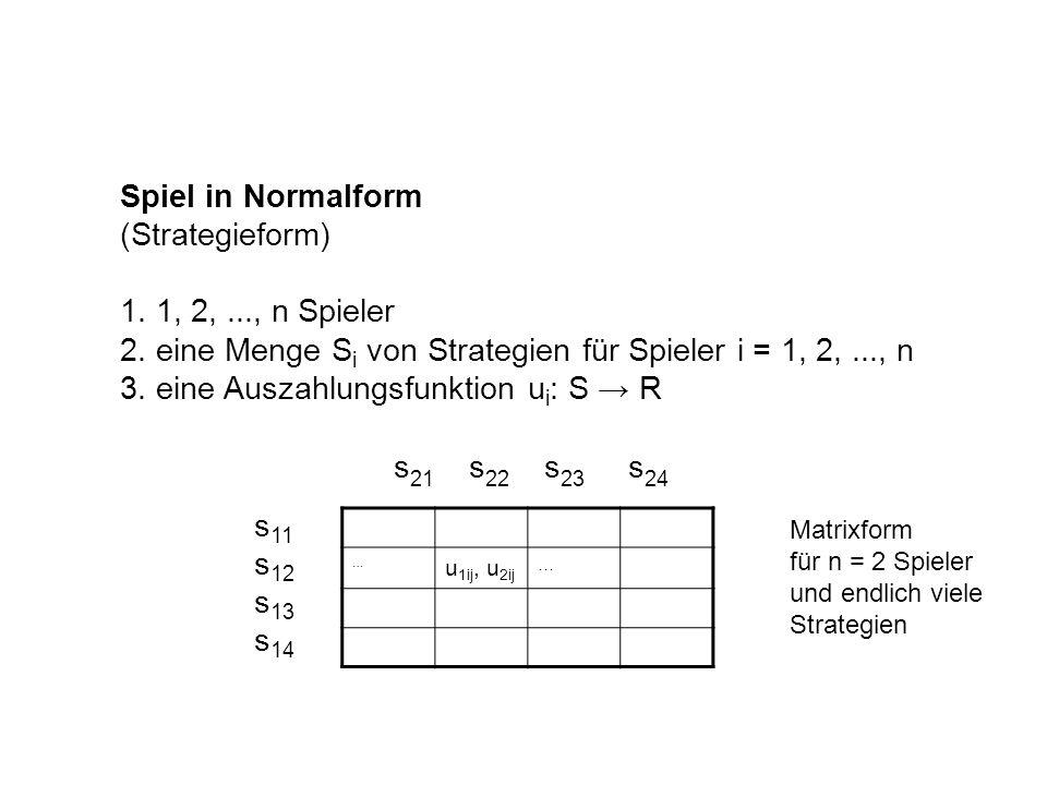 Spiel in Normalform (Strategieform) 1. 1, 2,..., n Spieler 2. eine Menge S i von Strategien für Spieler i = 1, 2,..., n 3. eine Auszahlungsfunktion u
