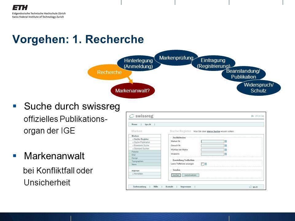 Vorgehen: 1. Recherche Suche durch swissreg offizielles Publikations- organ der IGE Markenanwalt bei Konfliktfall oder Unsicherheit Recherche Hinterle