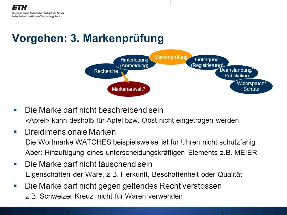 Vorgehen: 3. Markenprüfung Recherche Hinterlegung (Anmeldung) Markenprüfung Eintragung (Registrierung) Beanstandung/ Publikation Widerspruch/ Schutz M