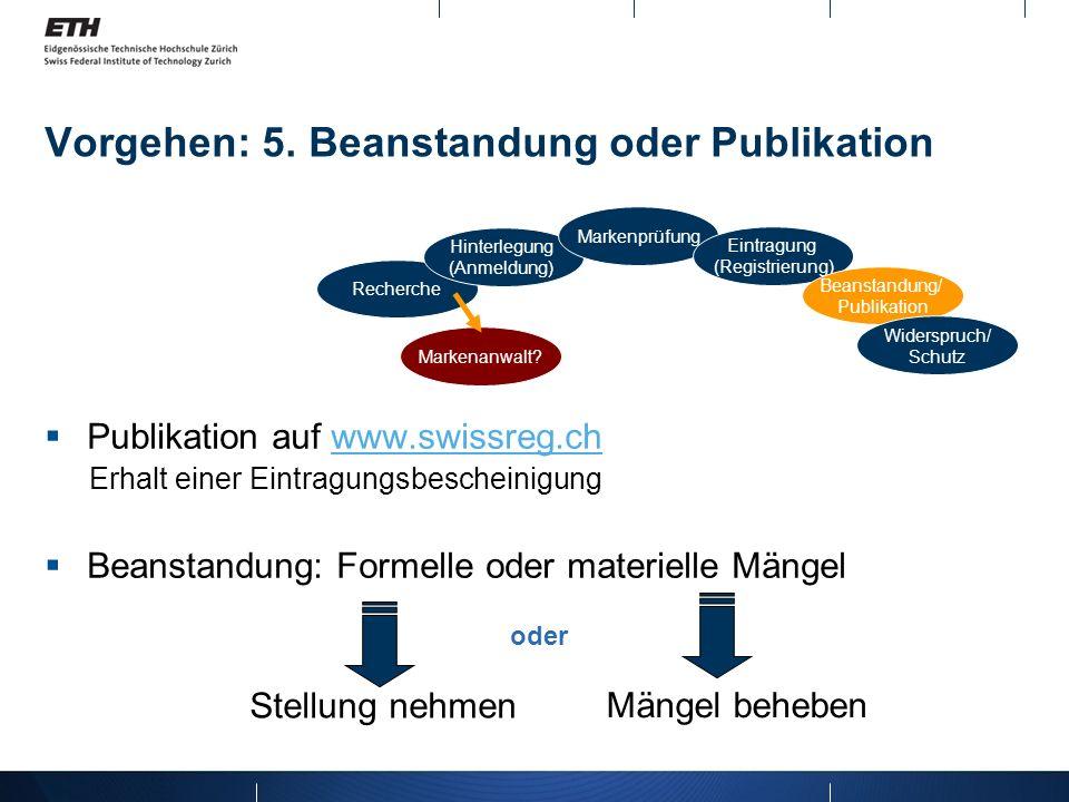 Vorgehen: 5. Beanstandung oder Publikation Publikation auf www.swissreg.chwww.swissreg.ch Erhalt einer Eintragungsbescheinigung Beanstandung: Formelle
