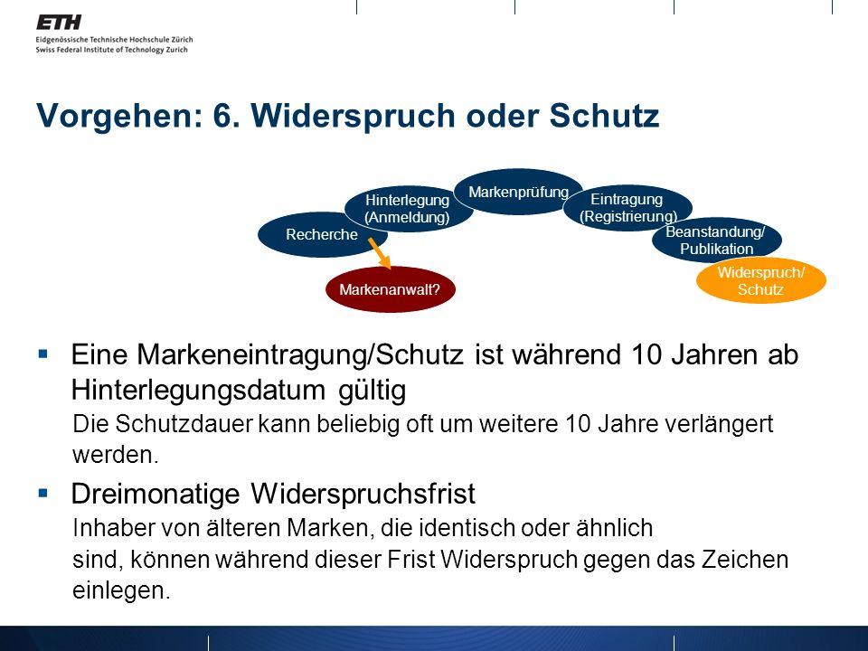 Vorgehen: 6. Widerspruch oder Schutz Recherche Hinterlegung (Anmeldung) Markenprüfung Eintragung (Registrierung) Beanstandung/ Publikation Widerspruch